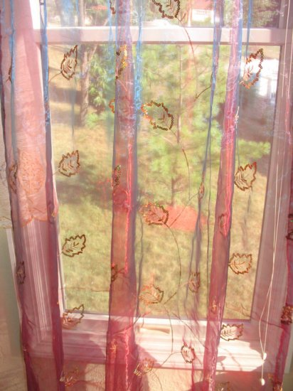 Embroidered Leaves Sheer Panels - Burgandy and Gold