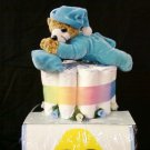 NOW I LAY ME DOWN TO SLEEP BLUE BEAR 3 LAYER BABY DIAPER CAKE
