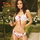 Sabrina Collection White Lace with Red Satin Ribbons Garter Set Size 32-38