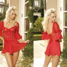 Aurora Collection Red Corset Style Lace Up Babydoll Sizes 32-38