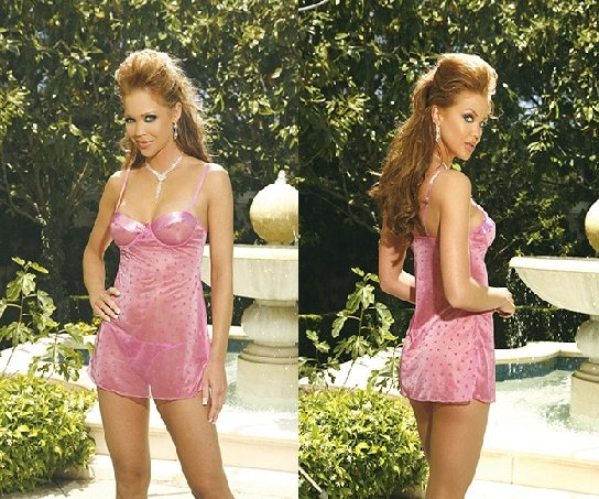 Strawberry Cream Collection Pink Satin Trimmed Babydoll Set Sizes S-XL
