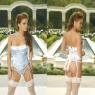 Satin Blue with Ivory Bustier and G-string set Sizes 32-38