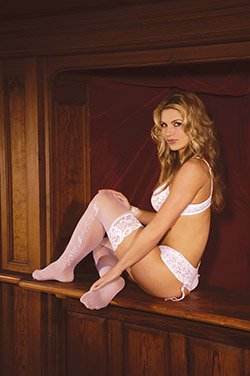 Wedding Bells Sheer Thigh Hi with Lace Top One Size Fits All