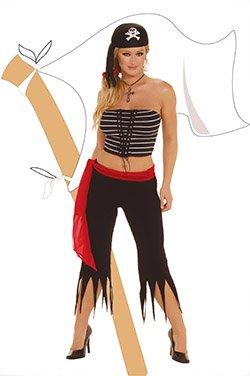 Pirate 4 Piece Costume Black Sizes S-L