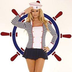 Flirty Sailor Costume Navy/White Queen Size