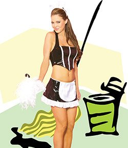 Vinyl 3 Piece French Maid Costume Black Sizes S-L