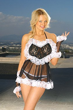 3 Piece French Maid Costume Black Queen Size