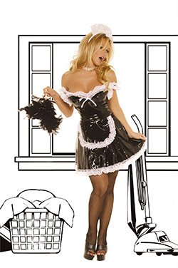 3 Piece Vinyl Maid Costume Black Sizes S-L