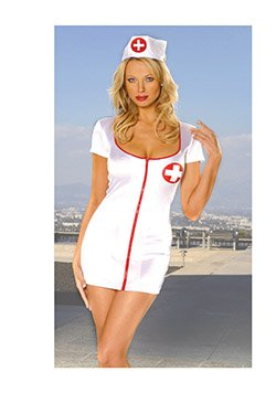 Naughty Nurse Costume White/Red Queen Size