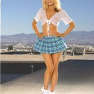 Turquoise 2 Piece Sexy School Girl Costume Sizes S-L