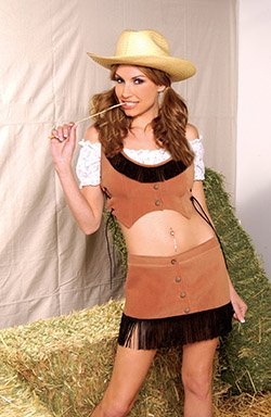 Western Cowgirl Costume Brown Sizes S-L