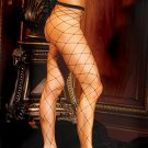 Seamless Lycra Diamond Net Pantyhose Black One Size Fits All