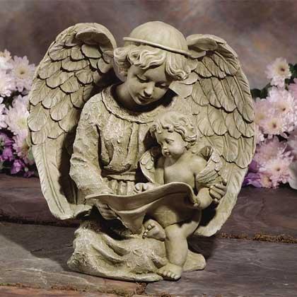 30797 Angel Reading With Cherub Birdfeeder