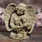 30797 Angel Reading With Cherub Birdfeeder