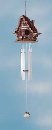 34721 Wood Love Nest Birdhouse Wind Chime