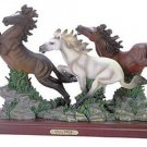 30083 Alabastrite Wild Horses On Wood Base
