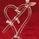 29390 Cut Glass Rose On Heart With Base