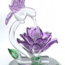 27106 Glass Sculpture Hummingbird With Flower