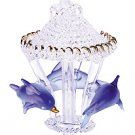 30308 Glass Sculpture Color Dolphins Carousel