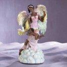 28126 Musical Alabastrite Black Angel With Cherub & Dove