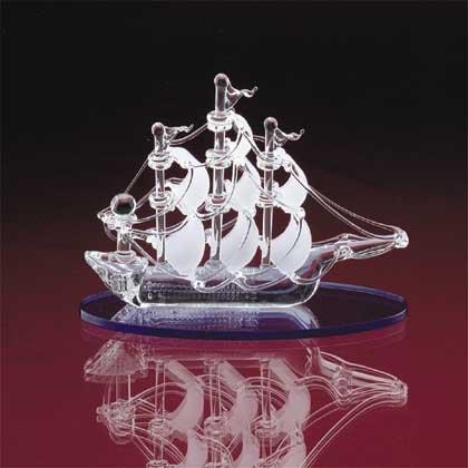 31457 Spun Glass Sail Boat With Blue Base