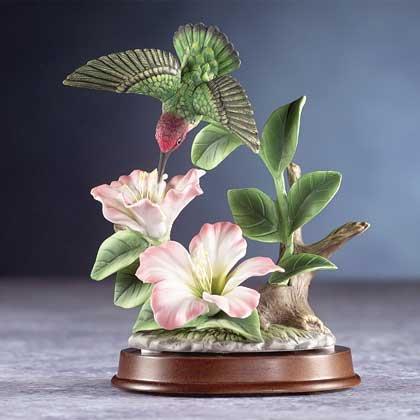 29308 Porcelain Hummingbird Over Flowers