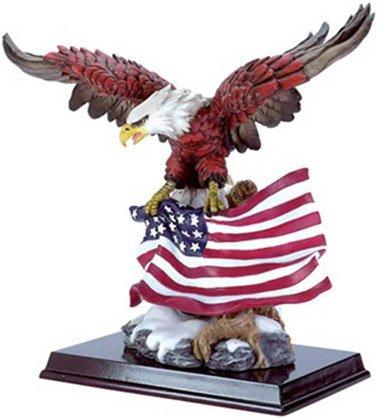 30840 Alabastrite Eagle With Flag On Wood Base