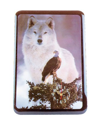 28397 Eagle And Wolf Clock