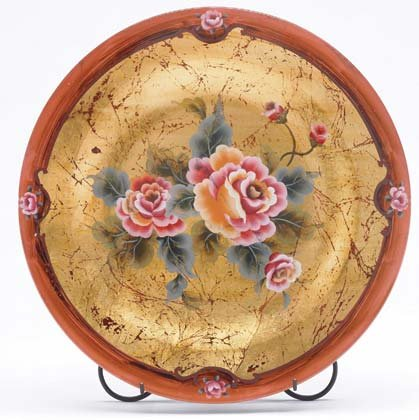 35643 Rose Painted Glass Plate