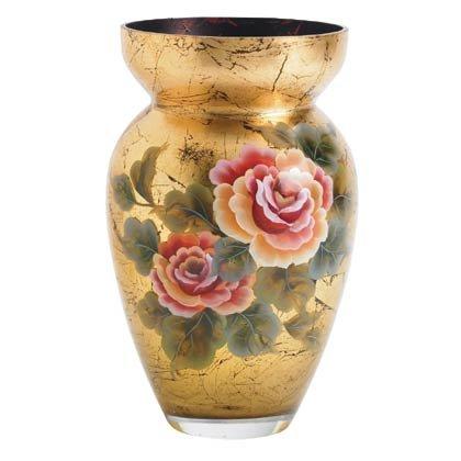 35644 Gold Leaf Glass Vase