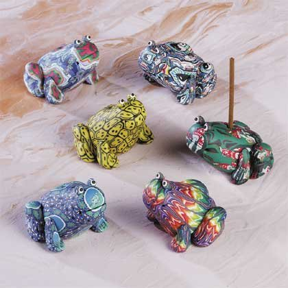 29237 6 Assorted Fimo Incense Holders - Frog (Retail - 3.99ea.)