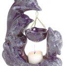 30128 Porcelain Oil Burner - Marblelized Dolphins