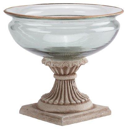 30657 Glass Fruit Bowl On Alabastrite Stone-Finished Base