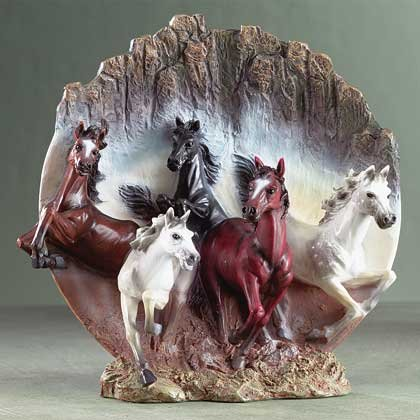 31051 Alabastrite Galloping Horse 3-D Plate