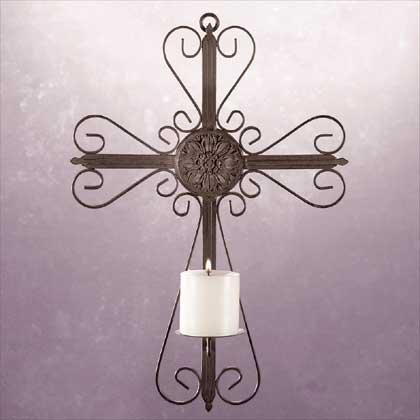 31153 Metal Cross Wall Candleholder