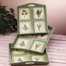 31582 Green Leaf Motif 3 Pc Tray Set