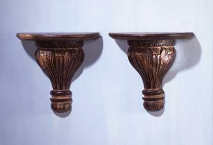31601 Wood Carved Shelf Sconces