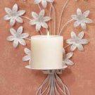 32033 Metal White Floral Candleholder