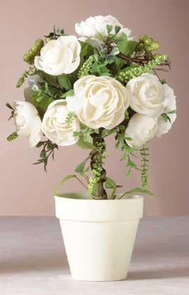 32074 Fabric Rose Topiary in Pot