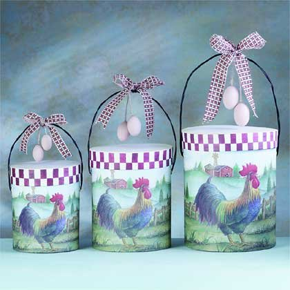 32386 3 Pc Rooster Paper Gift Boxes