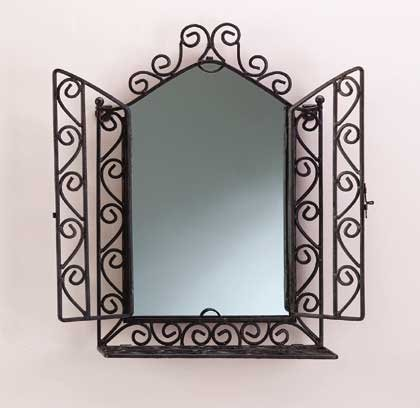 32407 Wrought Iron Wall Mirror and Shelf