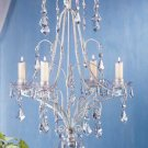 33001 Distressed White Metal Chandelier Candle Holder