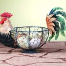 33027 Painted Tin Rooster Wire Basket