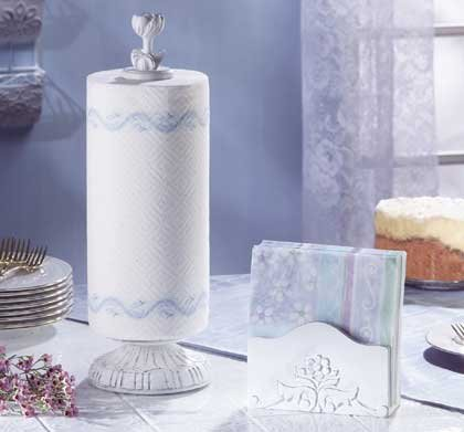 33138 Distressed White Napkin and Towel Holders
