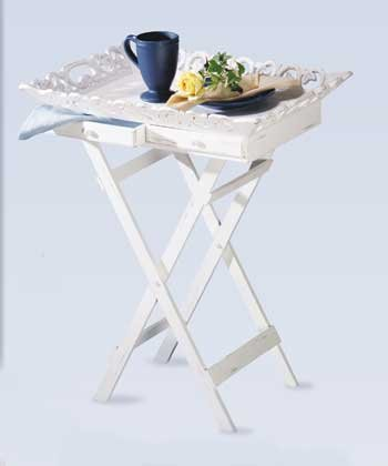33139 Distressed White Wood Tray Table