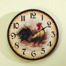 33167 Wood Rooster Wall Clock