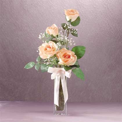 33191 Peach Satin Roses Bouquet in Vase