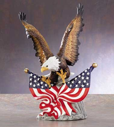 33263 Porcelain Eagle with Two US Flags