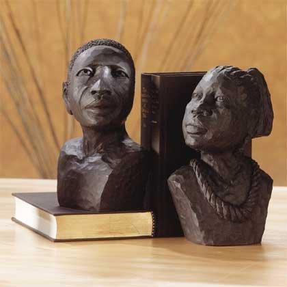 33294 Ebony-Look African Man, Woman Bookends
