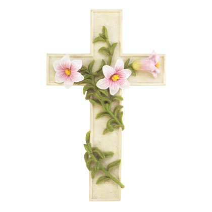 33569 Wall Cross with Flowers and Vine